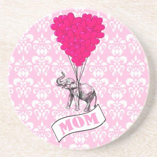 Mom, elephant and heart balloons drink coaster