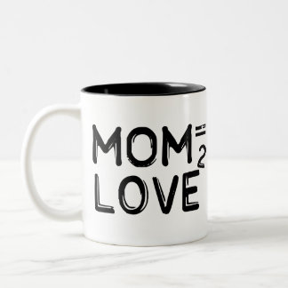 Mom Equals Love Squared Two-Tone Mug