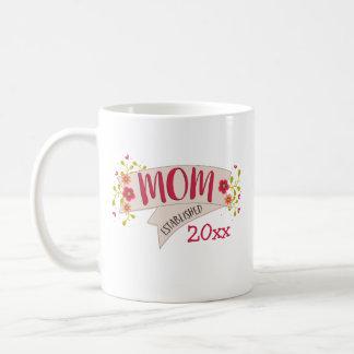 Mom Established Floral Banner Coffee Mug