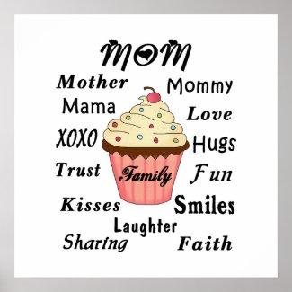 Mom Family Cupcake Poster