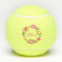 Mom Feminine Floral Mum Personalized Watercolor Tennis Balls