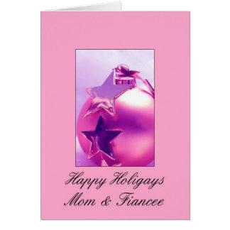 Mom Fiancee - Pink Happy Holigays Card
