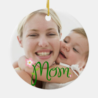 MOM/Flower Floral Typography Personalized Photo Ceramic Ornament