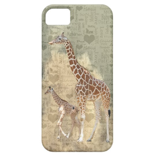 Mom Giraffe and Baby Family iPhone 5 Case