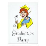 Mom Graduates Yellow Custom Invitation