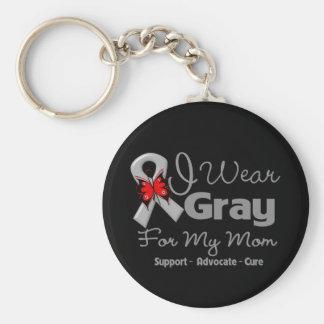 Mom - Gray Ribbon Awareness Basic Round Button Keychain