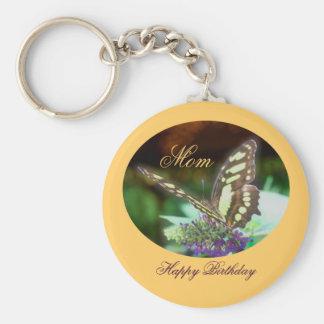 Mom Happy Birthday Butterfly Keychain