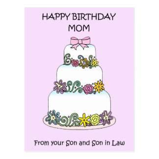 Mom Happy Birthday from Son and Son in Law Postcard