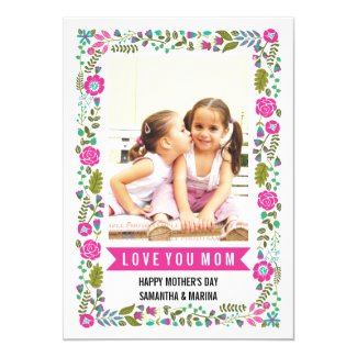 Mom, Happy Mothers Day aqua, hot pink floral photo Card