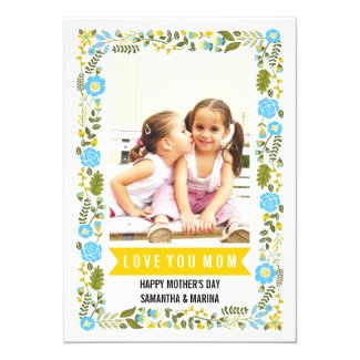 Mom, Happy Mothers Day aqua, yellow floral photo Card