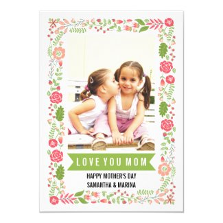 Mom, Happy Mothers Day coral-pink floral photo Card