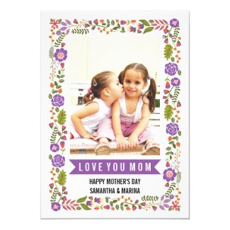 Mom, Happy Mothers Day purple, orange floral photo Card