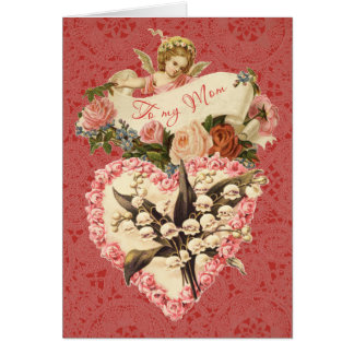Mom, Happy Valentineu0026#39;s Day, Vintage Angel, Roses Card