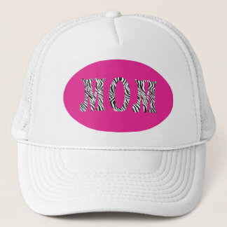 MOM -HAT-ZEBRA PRINT LETTERS ON HOT PINK TRUCKER HAT