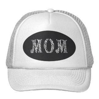MOM- HAT-ZEBRA PRINT LETTERS TRUCKER HAT