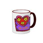 Mom Heart Design Ringer Coffee Mug