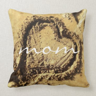 """Beach Themed """"Mom"""" heart in sand photography pillow"""