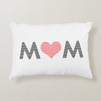 Mom - heart - love - mother - pink. accent pillow
