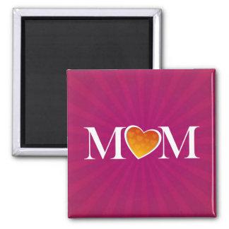 Mom Heart O Fuchsia 2 Inch Square Magnet