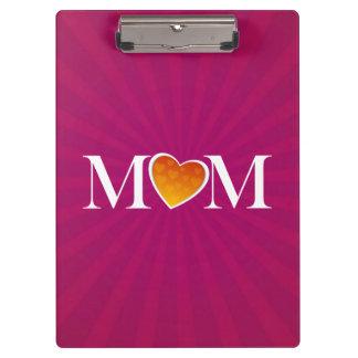 Mom Heart O Fuchsia Clipboard