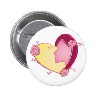 Mom Heart Pinback Button