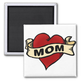 Mom Heart Tattoo 2 Inch Square Magnet