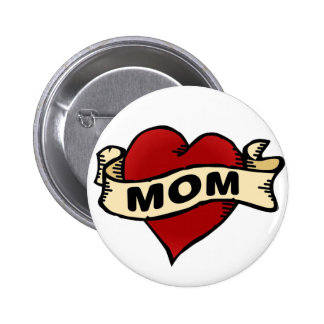 Mom Heart Tattoo Button