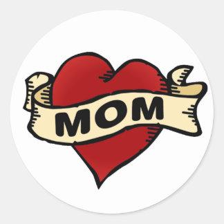 Mom Heart Tattoo Classic Round Sticker