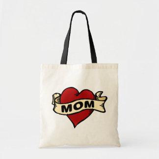 Mom heart tattoo totebag tote bag