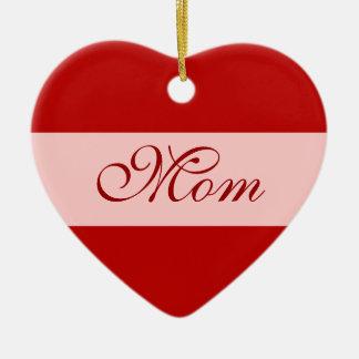 Mom heart - with custom name on back ceramic ornament