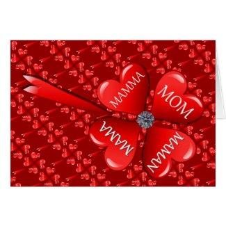 Mom Hearts Clover with Diamond Cards