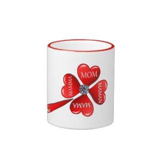 Mom Hearts Clover with Diamond Mugs