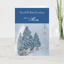 Mom / Holiday Greetings - Decorative Trees / Blue