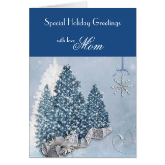 Mom / Holiday Greetings - Decorative Trees / Blue Greeting Card