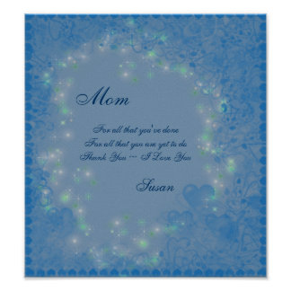 Mom I Love You Blue Hearts Poster Print