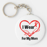 Mom - I Wear a Red Heart Ribbon Basic Round Button Keychain