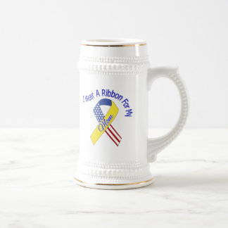 Mom - I Wear A Ribbon Military Patriotic Beer Stein