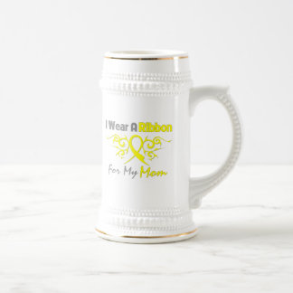 Mom - I Wear A Yellow Ribbon Military Support Beer Stein