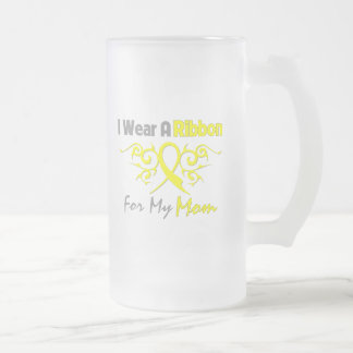 Mom - I Wear A Yellow Ribbon Military Support Frosted Glass Beer Mug