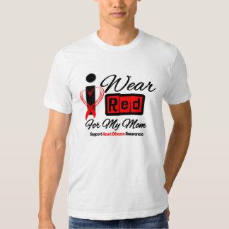 Mom  -  I Wear Red Ribbon Heart Disease T-shirt