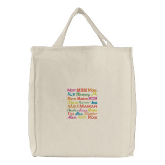 Mom in Any Language - Natural Embroidered Tote Bags