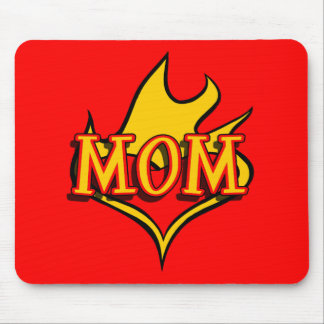 MOM in Cool Cartoon Tatto Heart Afire Mouse Pad