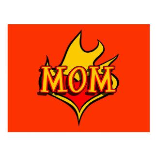 MOM in Cool Cartoon Tatto Heart Afire Postcard