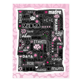 MOM IN DIFFERENT LANGUAGES MOTHER'S DAY POSTCARD