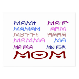 Mom in Different Languages (Mother's Day) Postcard