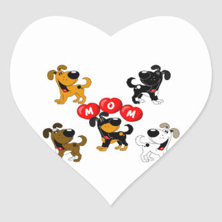 Mom in Heats (Surrounded by Pups) Heart Sticker