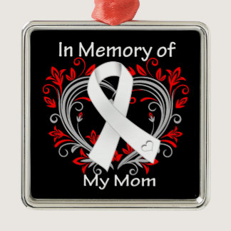 Mom - In Memory Lung Cancer Heart Metal Ornament