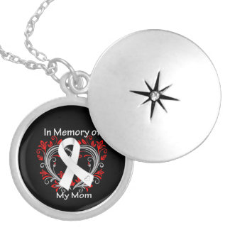 Mom - In Memory Lung Cancer Heart Round Locket Necklace