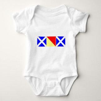 mom in nautical code flags baby bodysuit