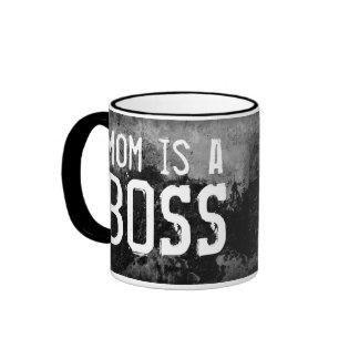 Mom is a Boss Ringer Coffee Mug